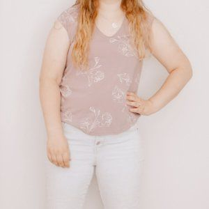 Dressy Muted Purple with White Floral Tank Top